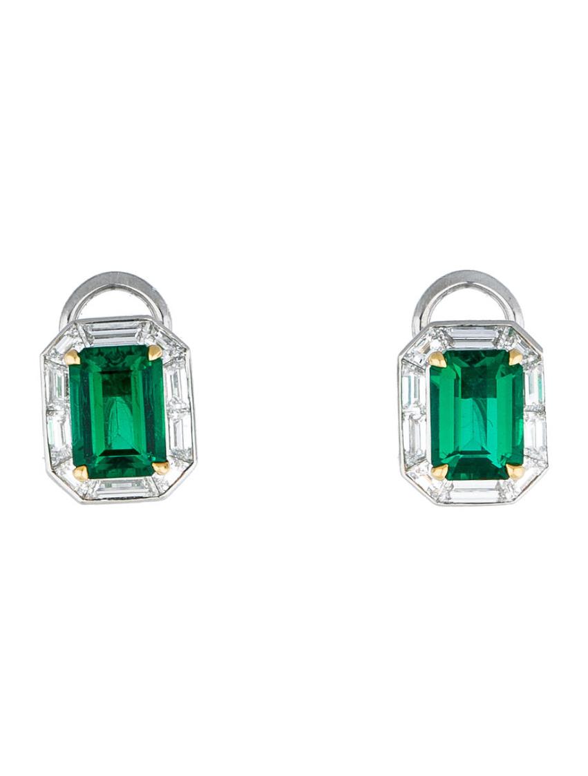Tiffany & Co's Emerald and Diamond Earrings, .9 carats (diamonds) & 3.52 (emerald), $41,195
