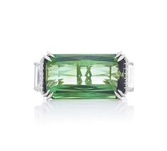 Alexandra Mor Tourmaline and Emerald Scissor Cut Ring $50,000
