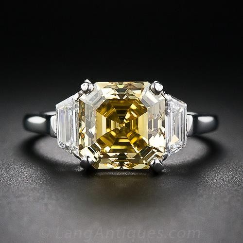 Yellow Asscher Cut Diamond Engagement Ring