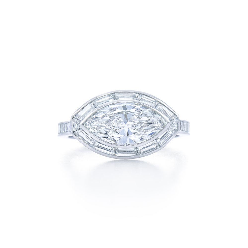 Kwait Diamond Marquise Cut Engagement Ring