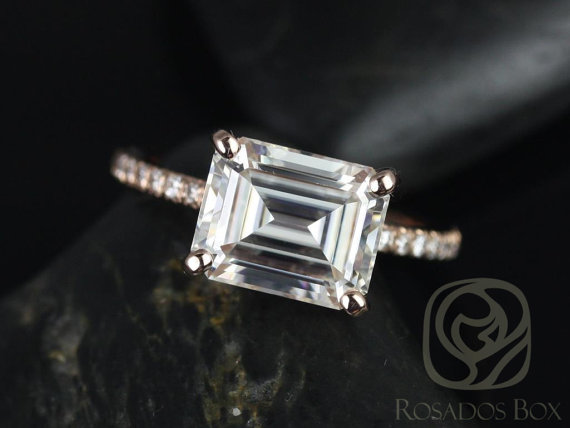 Rosado Box moissanite emerald cut engagement ring $2,900
