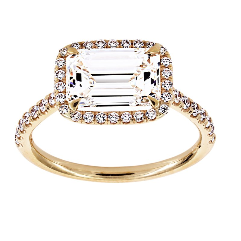 Two By London East-West Emerald Cut Diamond Halo Engagement Ring $30,000