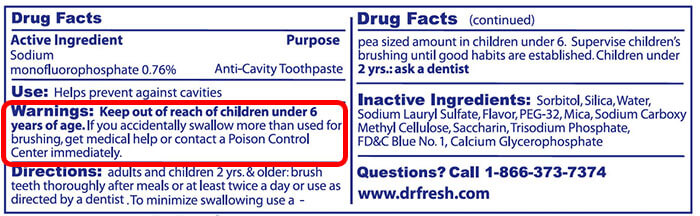 FDA toothpaste label