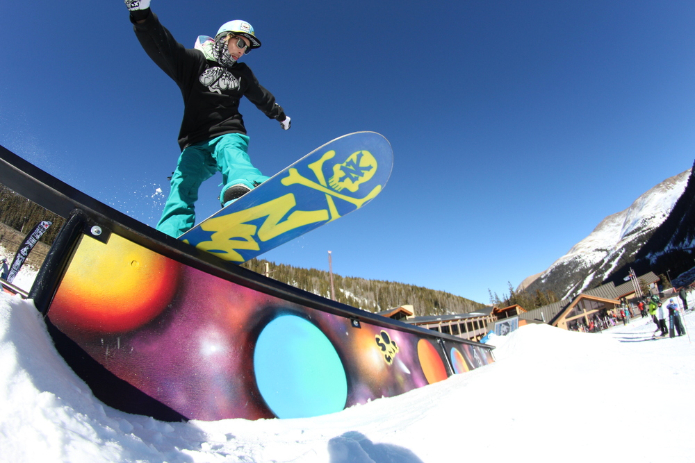 Pat Milbery Art_Loveland Resort terrain park painted ski & snowboard feature_ feel good cosmic installation .JPG