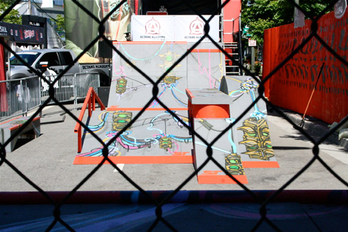Front view of skate ramps in the So-Gnar x Ford Auto X Games Activation