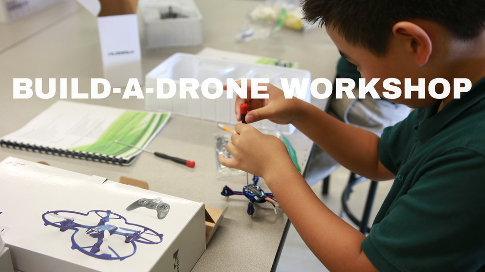 Still shot of Build a Drone workshop and STEM Camp hosted by Global Air Media. School kids put drones together in afterschool program.