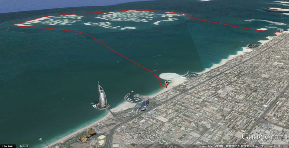 "Finishing on Sunset Beach, near the iconic ""Burj Al Arab"" hotel."