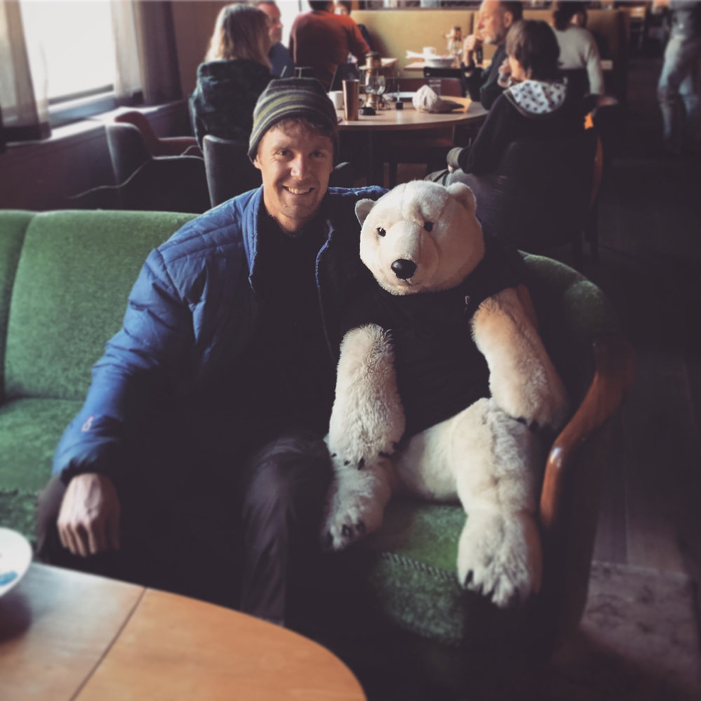 Making friends with the locals! This bear is actually a regular at the Coal Miners Cabin restaurant. The staff randomly place him on the chairs around the lounge throughout the day.