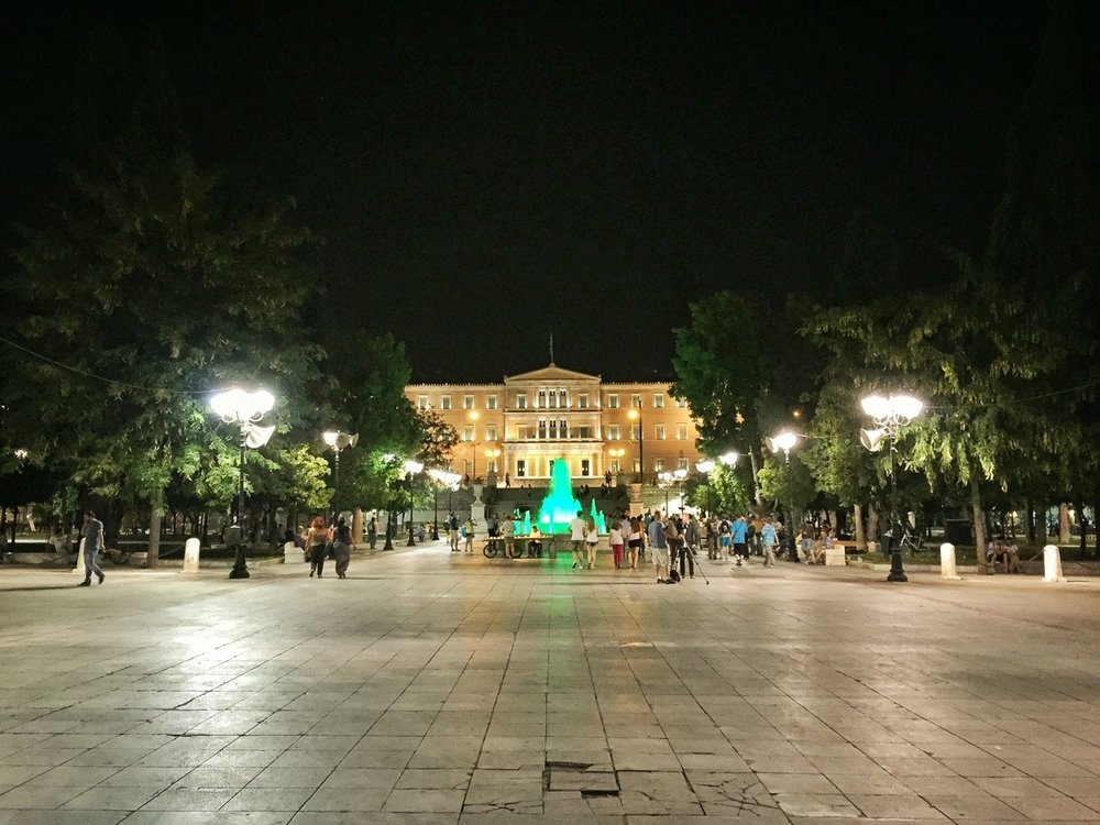 Athens by night. Yes, that's a green water fountain.