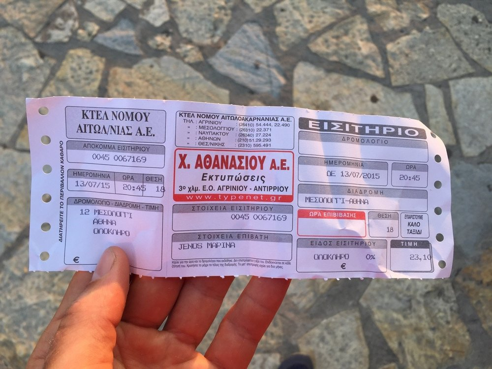 My bus ticket to Athens… Greek is actually easier to read than you might think at first glance!
