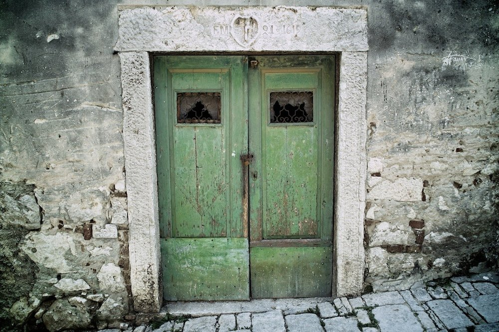 Green Doors          I loved the green colour of this set of old doors on one of the narrow streets in Rovinj.