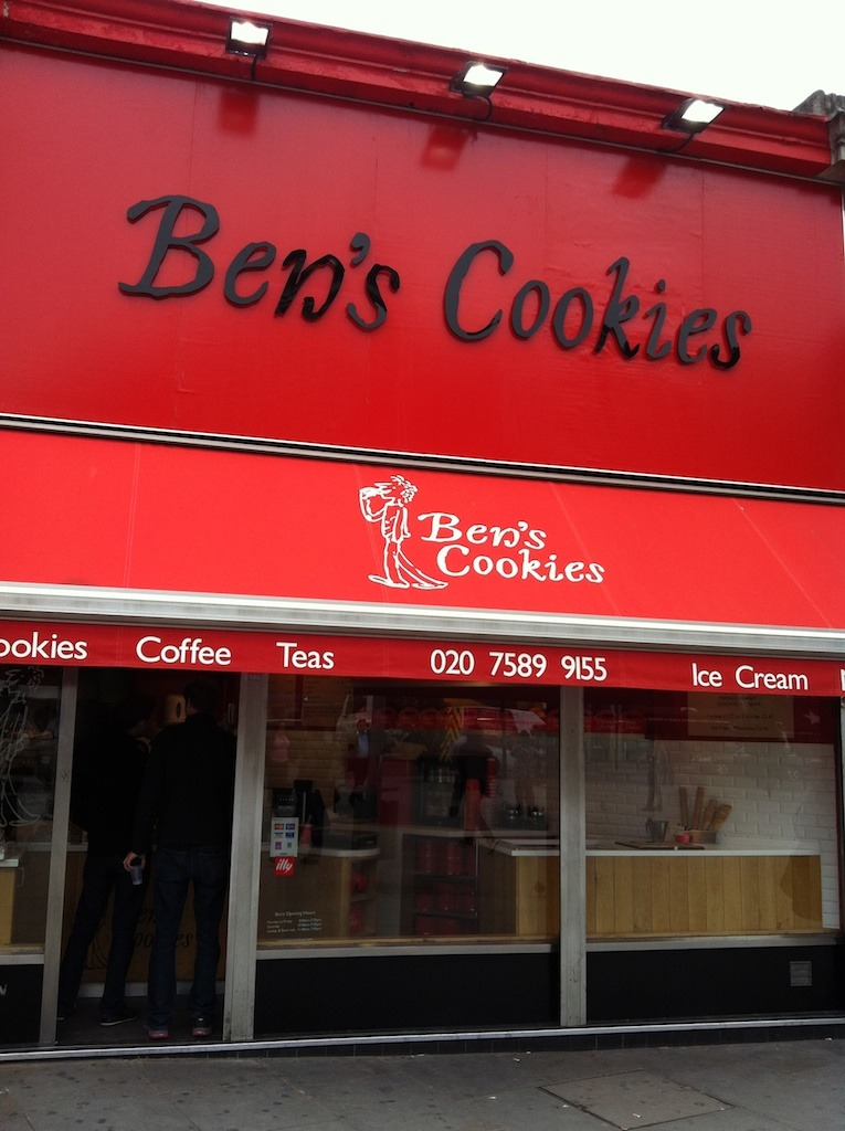 Ben's Cookies     The next time you're in London go to  Ben's Cookies .  You won't regret it.  Forget counting calories.  Forget lunch.  Don't ask questions.  Go for dessert.  Trust me on this.  It's unbelievably  good!