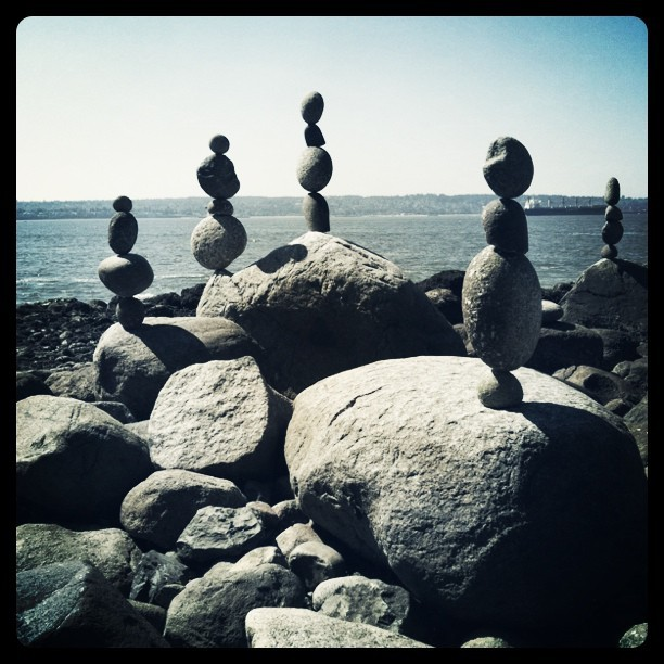 Kent Avery's Temporary Balanced Stones (Taken with  Instagram  at Third Beach)