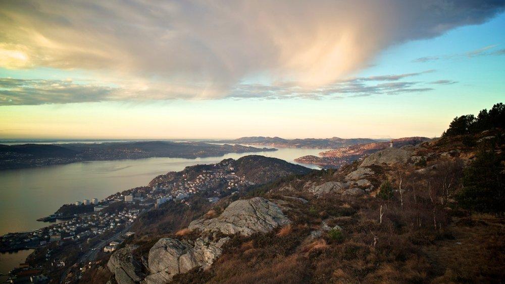 Utsikten mot nord fra Sandviksfjellet, Bergen