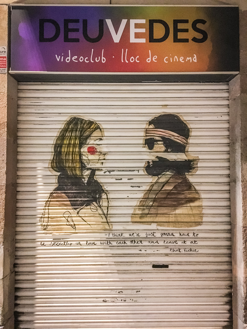"Pretty much every shop door in the city has been decorated with graffiti of some sort. This one on my street has this scene from one of my favourite movies ""The Royal Tenenbaums""!"