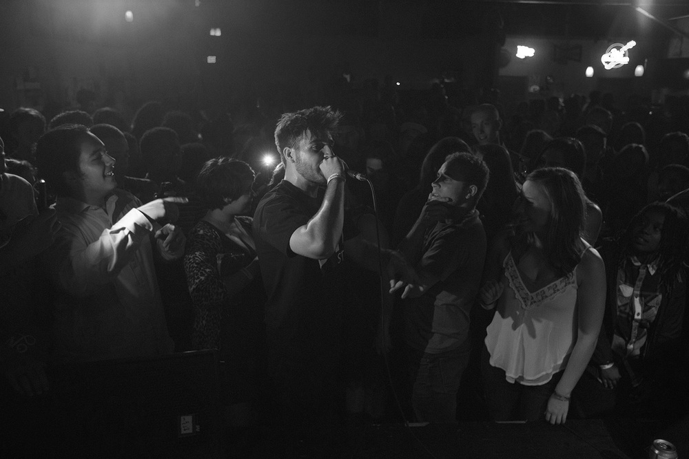Nance performing amongst the crowd at Southland Ballroom in Raleigh, 9/25.