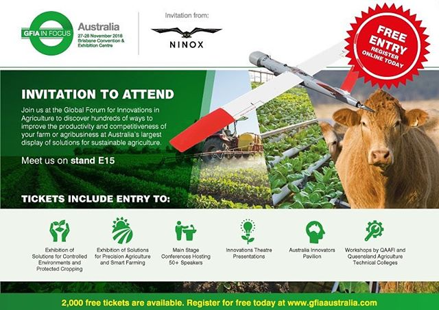 Ninox Robotics will be exhibiting at the Global Forum for Innovations in Agriculture event on the 27th and 28th of November.  Interested to know how our long-range drone services can be utilised to improve efficiency and increase profit? Visit us at stand E15.  #GFIA in Focus  #drones #RPAS #UAV #UAS #BVLOS #longEndurance #mapping #agriculture #precisionagriculture #invasivespecies #livestock #crop