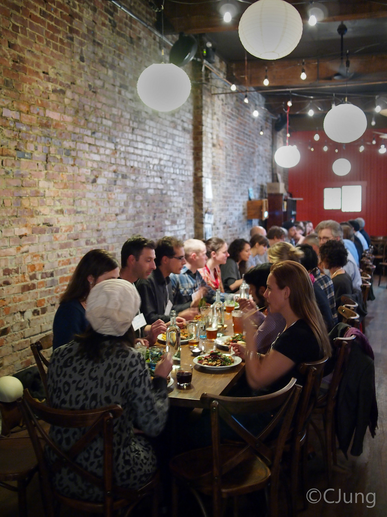 "A photo from our recent ""Long-table Dinner for a New Economy,"" co-hosted in our cafe space with Ashoka Changemakers"