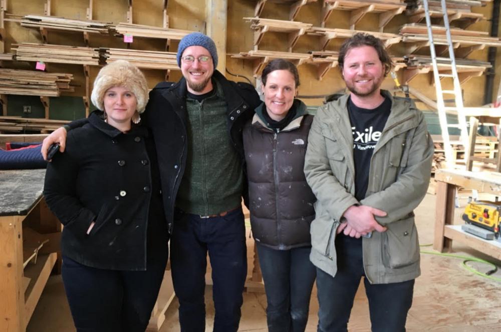 The Wood Shop crew: Jessica Valentine, Chris Nichols, Renee Michaud, and Maxim Piche.