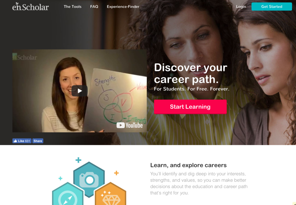 enScholar - a learning platform helping high school students explore career paths.