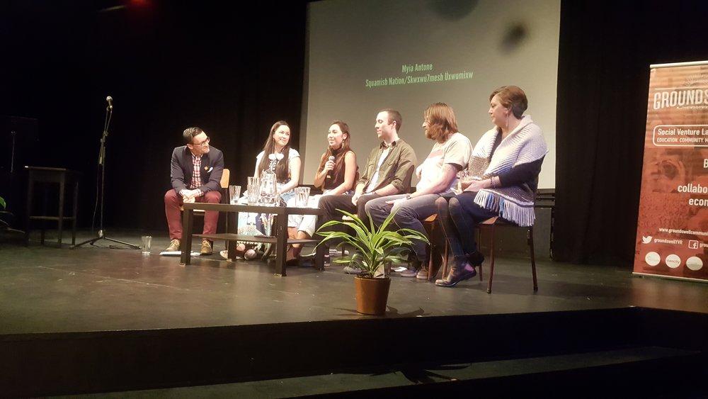 The astute panel of speakers: Alexander Dirksen, Joleen Mitton, Myia Antone, Conlan Mansfield, Curtis Rattray, Michelle Lorna Nahanee.