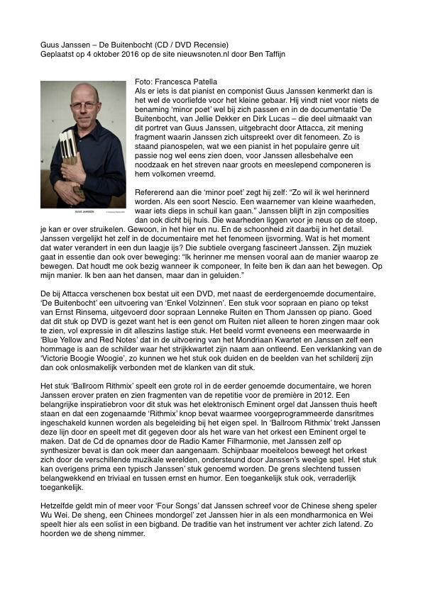 Recensie Ben Taffijn 'De Buitenbocht' over Guus Janssen