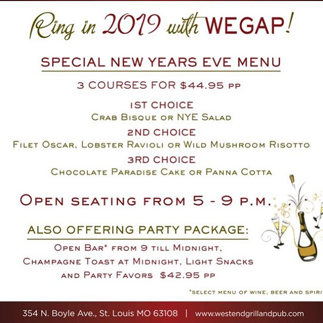 Join us on NYE 🥂🍾 #nyestl #centralwestend @cwescene @cwe.style @centralwestendliving #foodiestl #stlfood #stlfoodie @saucemag @feastmag