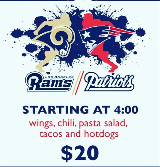 Why not throw ONE last party?! It's a Super Bowl Pop Up 🏈 $20 all you can eat buffet plus cash bar while you watch the game on our big screen. See ya there! #rams #patriots #whoyagonnahate