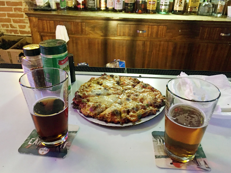 Pizza and Beer at Josie's River Queen