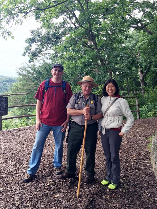 Park Ranger Michael Douglass, Nancy and I at Fire Point