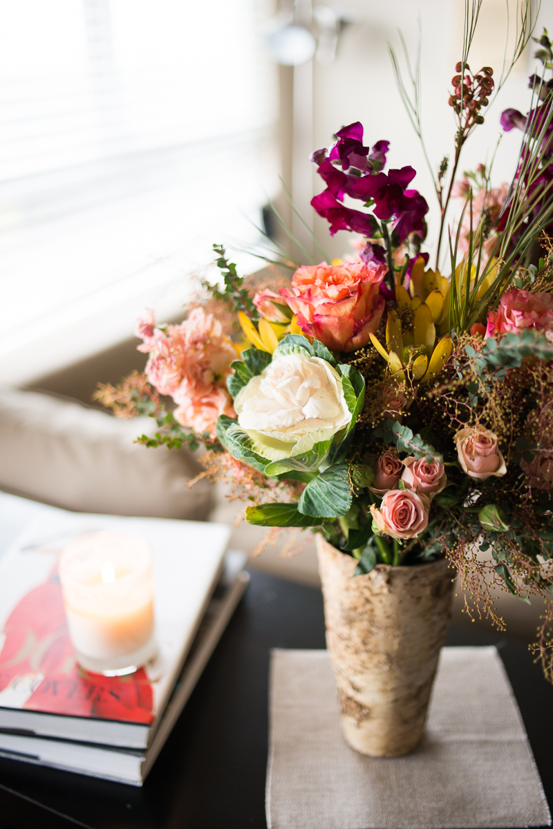 beautiful flower arrangement in vintage vase