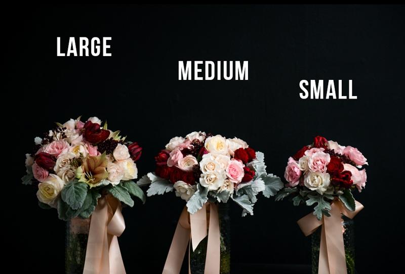 Mission de Flores Wedding Bridal Bouquet Sizes