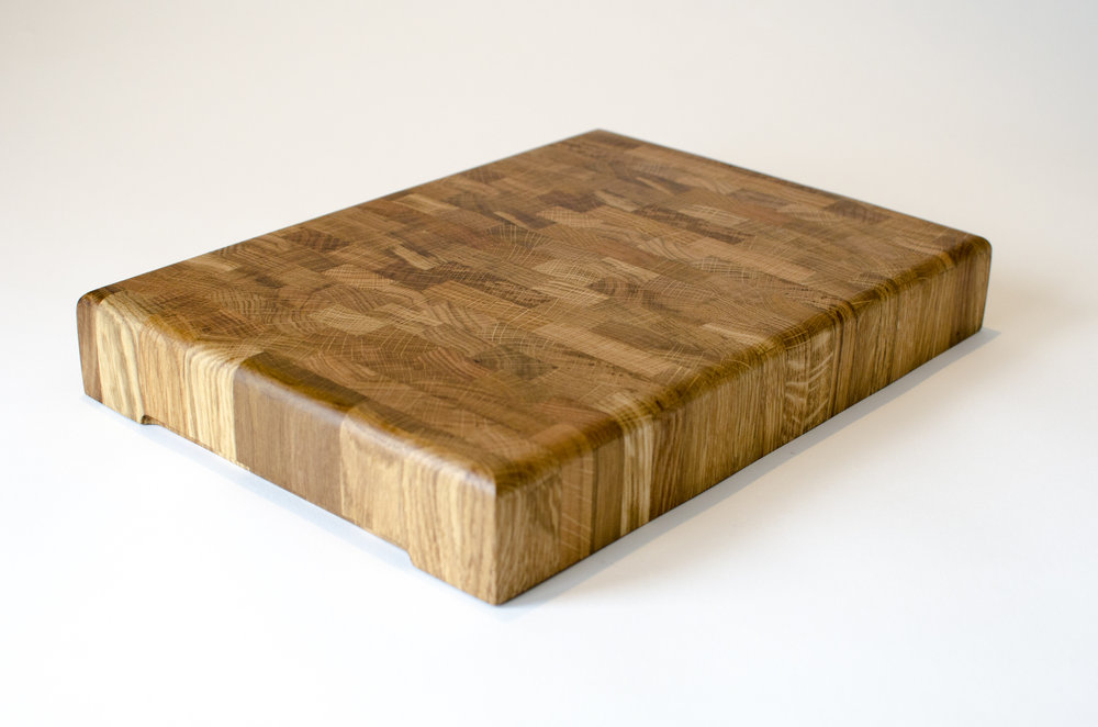 end grain oak chopping board made from offcuts sold on etsy made in sheffield