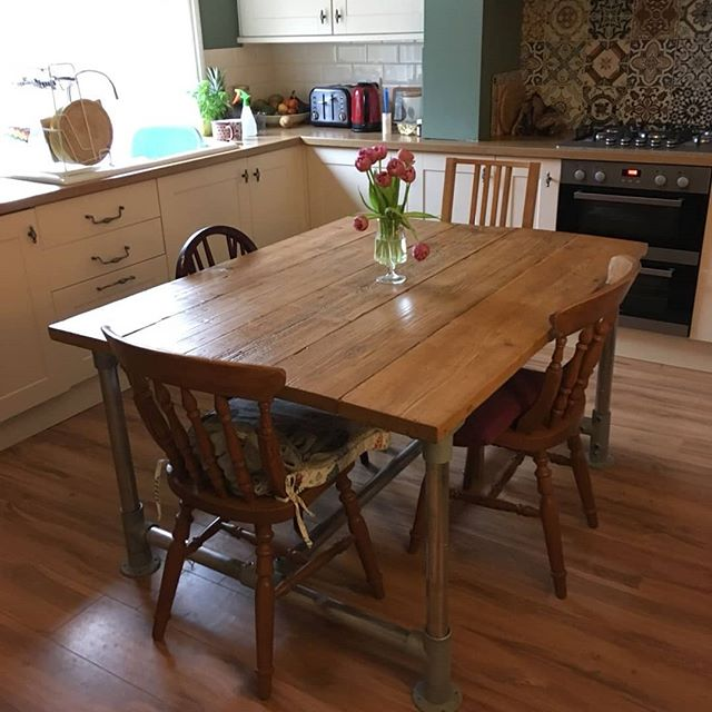 Here's one of our bespoke reclaimed scaffolding dining tables in the customers home! It's great when people send in pictures of our products! We're really happy with how it looks!  We also filmed the making of this table so check out our YouTube and Facebook pages once we've edited it!  #socialenterprise #socent #buysocial #reclaimed #reclaimedmaterials #reclaimedwood #reclaimedfurniture #upcycled #upcycledfurniture #scaffolding #repurposed #repurposedfurniture #sustainability #sustainableliving #handmade #woodworking #woodwork #furniture #furnituredesign #diningroom #diningtable #dining #sheffield #southyorkshire #etsy #etsyseller #etsyshop #madetoorder #madeinsheffield #madeinbritain