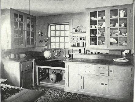 1900-luvun alkupuolella kiinteiden kalusteiden määrä lisääntyi. Avohyllyköt muuttuivat saranoiduiksi kaapistoiksi. Työtasotilaa oli enemmän. Vesi tuli putkea pitkin taloon ja poistui viemäristä. Keittiön toiminnot helpottuivat kaasuliesien myötä. Pikkuhiljaa alettiin vanerin ja rimalevyn tarjonnan kasvun myötä valmistamaan moduulityyppisiä keittiökaapistoja, joita saattoi ostaa haluamillaan mitoilla. - Kuva: Ruotsalaiskeittiö 1920-40-luvulla.
