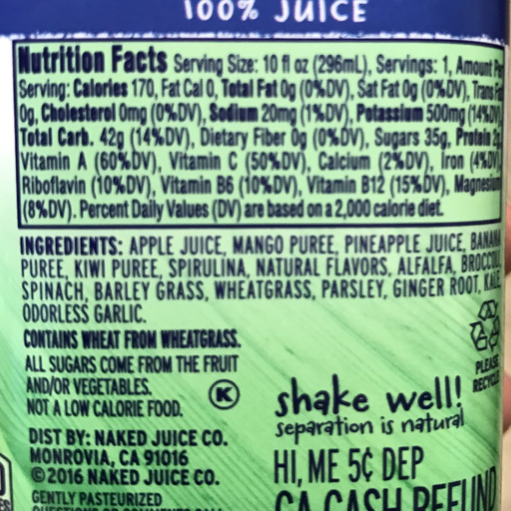 Green Machine Ingredients & Nutrition Info