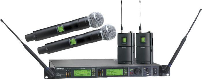 Een groot scala aan bedrade en draadloze microfoons onder andere:  Shure Beta 58A, Beta 57A, SM58, SM57, Beta 52, SM81, Beta 87, SM87, Beta 98, Shure ULX-Den UR4D draadloos met Beta 58, Beta 87 of beltpack met DPA headset