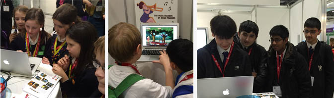 School children at the age of 8 to 13 playing The Music Game at Bett Learning Fair in London.