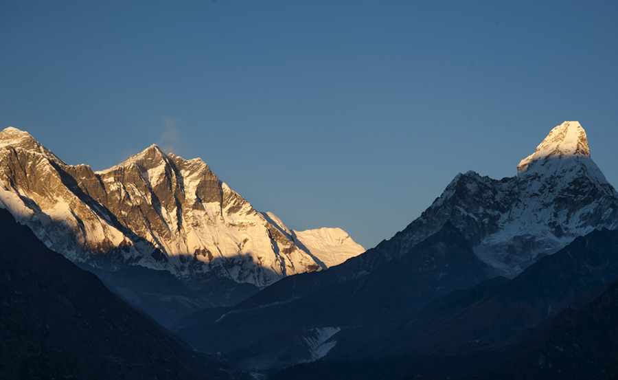 View of Mount Everest, Lhotse, Ama Dablam from the Everest Viewpoint hike