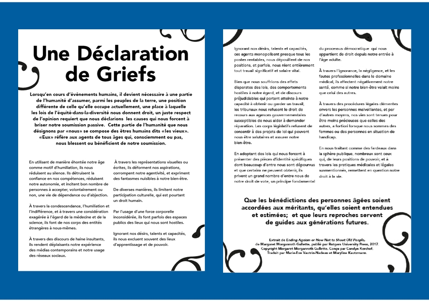 """A Declaration of Grievances"" in French"