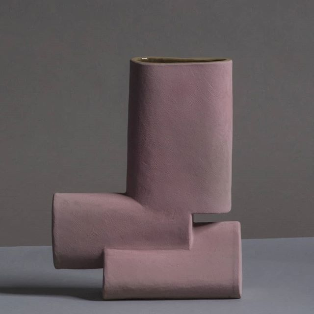Pink glazed stoneware vase from the 'Enkidu Collection' made during my residency in Jingdezhen, China . . . . . . #ceramics #handbuilt #stoneware #design #sculpture #vase #architecture #artdesign #primativebrutalism #brutalism #primitive #interiordesign #decoration #interior  #contemporarydeisgn #color #artoftheday