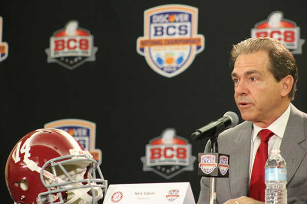 Nick Saban, the head football coach of Alabama, speaking at a BCS press conference