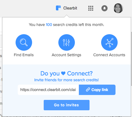 Step 1: Once installed, open Clearbit on on your Gmail
