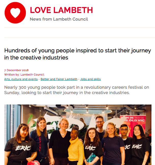 "LOVE LAMBETH - ""The day itself was magnificent, an inspiring experience for all the young people who took part and I'm sure it has started many on their journey in the creative industries."""