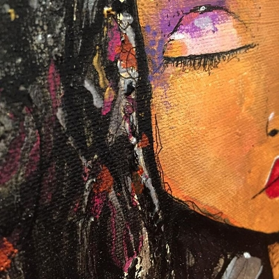 "Close up from ""Sophia"" - Acrylic, ink, presto, graphite, micron, pigment, relief, on canvas. 24x24. Denise Perri"