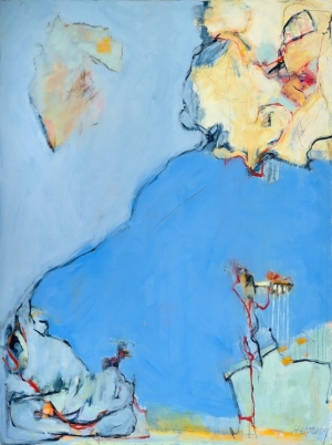 """Climbing Blue,"" oil, mixed media"