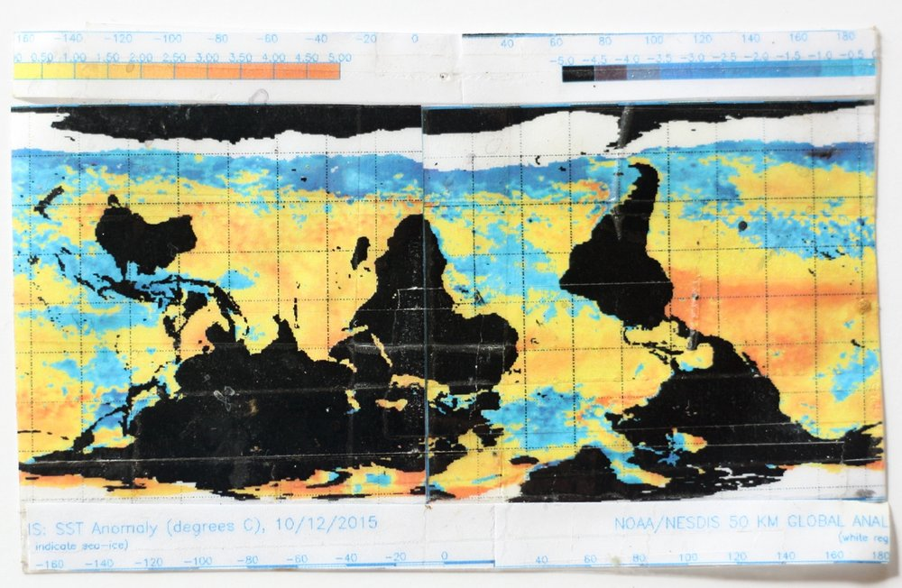 Ana Vizcarra Rankin, Surface Sea Temperature Anomalies, 2017 collage 2x3in