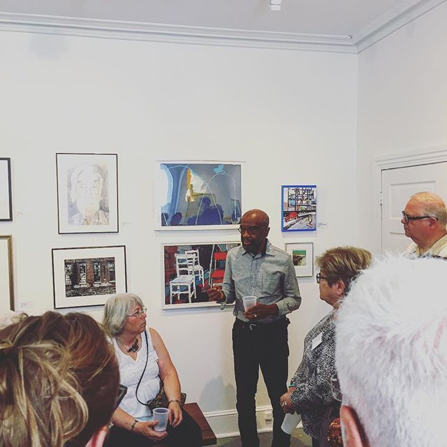 Juror, Moe Brooker, generously talking about his process, overcoming his recent health issues and the intersection of both life and art. #painting #worksonpaper #dvaa #community #art #phillyart #moebrooker #juriedshow #membership