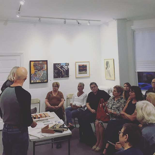 Why do you frame? How do you frame? What story does it tell? Thanks to our Third Thursday Salon speakers tonight for talking about how to best frame your work. #art #artwork #framing #framers # #painting #bandkarts #phillyart #community #davinci #gallery2