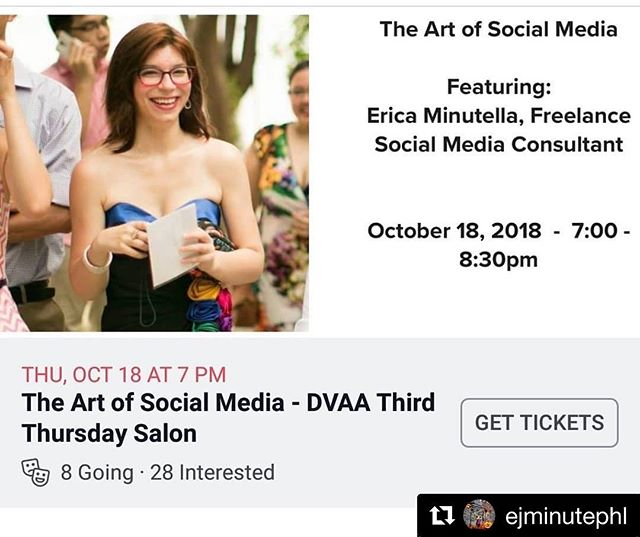 #Repost @ejminutephl with @get_repost ・・・ Join me @davinciartalliance this Thursday to learn how to use social media to enhance your artwork's online presence. Visit the #davinciartalliance Facebook Page for event details. #philly #phillyart #artistresources